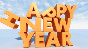 Happy new year 3d text. 3d Happy new year text Royalty Free Stock Images