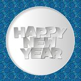 Happy new year 3d text  background. Paper white design with shadows vector illustration