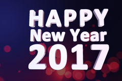 Happy new year 2017. 3d text with dark blue background Royalty Free Stock Image