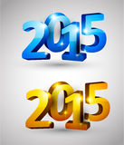 Happy new year 2015. 3d text 2015 happy new year design. Vector illustration Stock Photos