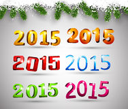 Happy new year 2015. 3d text 2015 happy new year design. Vector illustration Royalty Free Stock Photo