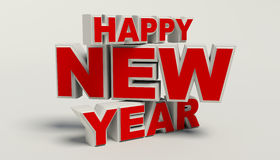 Happy New Year 3d text, high resolution. On withe background stock illustration