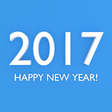 Happy new year 2017 3D text. 2017 Happy new year. 3D illustration on blue background Royalty Free Stock Image