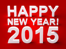 Happy New Year 2015 3d Text. On Red Background stock illustration