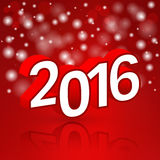 Happy new year. 2016 Year 3d text. Red background with abstract snowflakes. Vector illustration Stock Photos