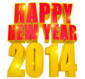 Happy new year 2014, 3D text red and gold. Royalty Free Stock Photo