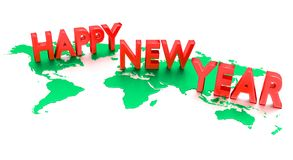 Happy New Year. 3-D text stands on world map royalty free illustration