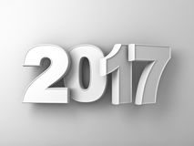 Happy new year 2017 3D white text over white wall background abstract with shadow Royalty Free Stock Photo
