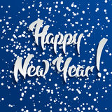 Happy New Year 3d White Text with Shadow. On Blue Background, Vector Greeting Card Design stock illustration