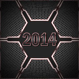 Happy new year dark. 2014 against the background of technological textures Royalty Free Stock Image