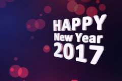 Happy new year 2017 with dark blue background. Happy new year 2017 3d text with dark blue background Royalty Free Stock Photo