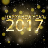 Happy new year 2017 on dark gold background vector design Stock Image