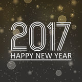 Happy new year 2017 on dark night bokeh background with stars and snow eps10 Royalty Free Stock Photos