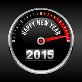Happy New Year 2015 Dashboard Background. With speedometer dial and odometer.  EPS10 file with transparency Stock Photography