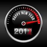Happy New Year 2014 Dashboard Background. Speedometer dial and odometer with rolling red number.  EPS10 file with transparency Royalty Free Stock Photography