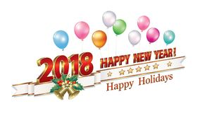 Happy New Year 2018. Date 2018 Happy New Year in 3d format and with bells on the background of balloons.Vector illustration Stock Photo