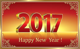 Happy New Year 2017. Date 2017 on a red background in 3d format Stock Photo