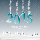 Happy new year 2015 and decorate with Christmas lights. Royalty Free Stock Photo