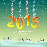 Happy new year 2015 and decorate with Christmas lights. Stock Photos