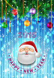 Happy New year 2016 decorated greeting card. Christmas or New Year colorful greeting card with numbers of 2016 and Santa Claus face. Decorated background. Vector Royalty Free Stock Images