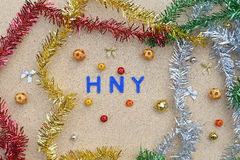 Happy new year decoration on brown wooden background Royalty Free Stock Photos