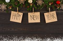 Happy new year decoration cards, ornament and garland frame background. Happy new year decoration, garland frame concept background, top view with copy space on Royalty Free Stock Image
