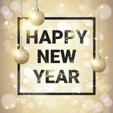 Happy New Year Decoration Golden Balls Over Glittering Background royalty free illustration