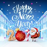 Happy New Year 2019 decoration poster card. Background and composition on a snowy street with Santa, Christmas toys and garlands, candy canes, gingerbread and vector illustration