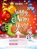 Happy New year 2018 decoration poster card. And merry Christmas Party background with garlands, tree branches, snowflakes and Snowman. Fiery Dogs year stock illustration