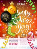 Happy New year 2018 decoration poster card. And merry Christmas background  with garlands, tree branches, snowflakes serpentine and confetti. Fiery Dogs year Stock Photo