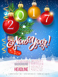 Happy New year 2017 decoration poster card and merry Christmas background. With garlands, tree branches, snowflakes. Year symbol, the fire cock royalty free illustration