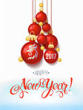 Happy New year 2017 decoration poster card and merry Christmas background. With  toys collected in the form of a Christmas tree, 2017 Year symbol, the fire cock Royalty Free Stock Photography