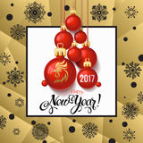 Happy New year 2017 decoration poster card and Merry Christmas background. With  toys collected in the form of a Christmas tree, 2017 Year symbol, the fire cock Stock Photos
