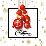 Happy New year 2017 decoration poster card and merry Christmas background. With  toys collected in the form of a Christmas tree, 2017 Year symbol, the fire cock Stock Photo