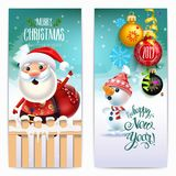 2019 Happy New Year decoration of a poster card and a merry Christmas holiday background with garlands, tree branches, snowflakes. And a snowman and Santa claus royalty free illustration