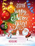 2019 Happy New Year decoration of a poster card and a merry Christmas holiday background. With garlands, tree branches, snowflakes and a snowman and Santa Claus royalty free illustration