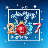 Happy New Year 2017 decoration poster card. Merry Christmas sign background and composition on a snowy field with Christmas toys and rooster, garlands, candy vector illustration