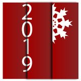 Happy New Year 2019 decorative card with snowflake. Red background vector design. Winter holiday collection. Happy New Year 2019 decorative card with snowflake vector illustration