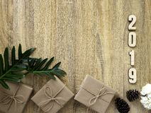 Happy new year 2019 decorative with gift box on wooden royalty free stock photo