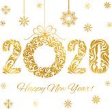 Happy New Year 2020. Decorative Golden Numbers and Christmas wreath. Happy New Year 2020. Decorative Font made of swirls and floral elements. Golden Numbers and stock illustration