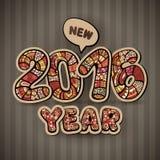 Happy New Year 2016. Decorative hand drawn Royalty Free Stock Photos