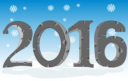 Happy new year 2016. Decorative numerals 2016 on background of the snow stock illustration