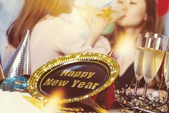 Happy New Year Decorative Plate stock image