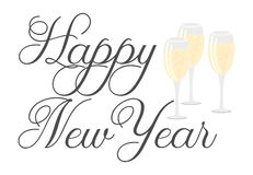 Happy New Year - decorative text with three glasses of champagne vector illustration