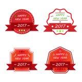 Happy new year 2017 decorative vintage badge set Stock Photos