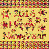 Happy New Year 2016. Decorative vintage ornamental hand drawn in Royalty Free Stock Images