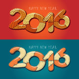 Happy new year 2016. Decorative vintage vector. Illustration. Hand drawn color greeting card royalty free illustration