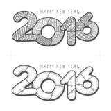 Happy new year 2016. Decorative vintage vector. Illustration. Hand drawn monochrome greeting card stock illustration