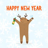 Happy new year deer with drink Royalty Free Stock Image