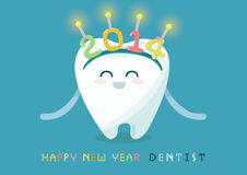 Happy new year 2014 of dental. Happy new year 2014 frome tooth of dental royalty free illustration